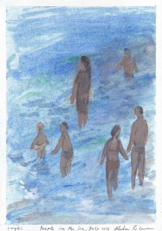 People in the Sea II, July 2016, acrylic on paper, 28,6 x 20,2 cm -