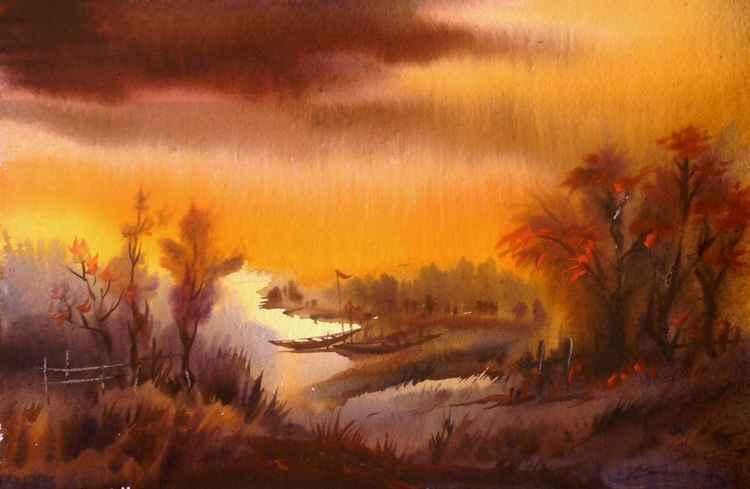 Autumn Landscape - Watercolor Painting
