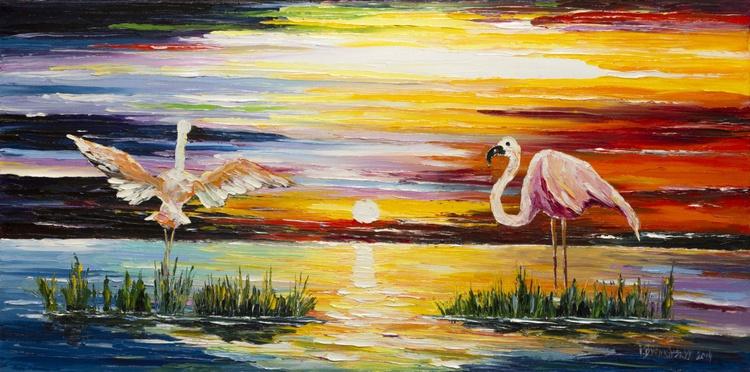 Evening on the lake flamingo dancing - Image 0