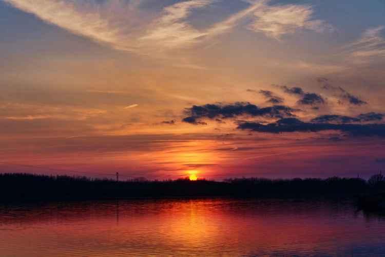 Sunfall on a Prairie Lake -