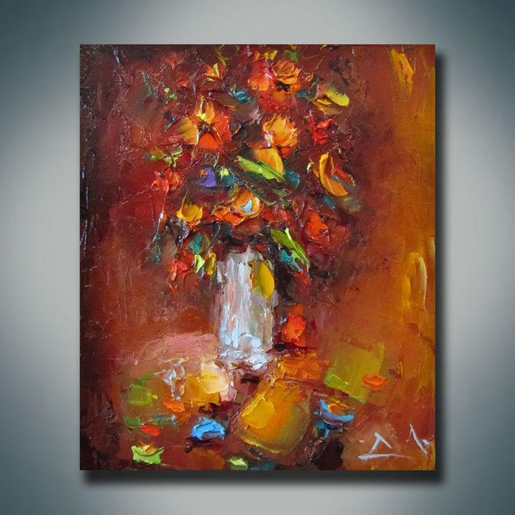 Flower composition, Palette knife oil painting, free shipping - Image 0