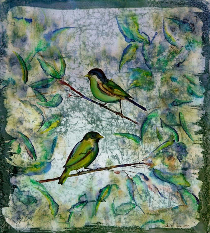 The Time of Singing Birds batik on silk fabric - Image 0