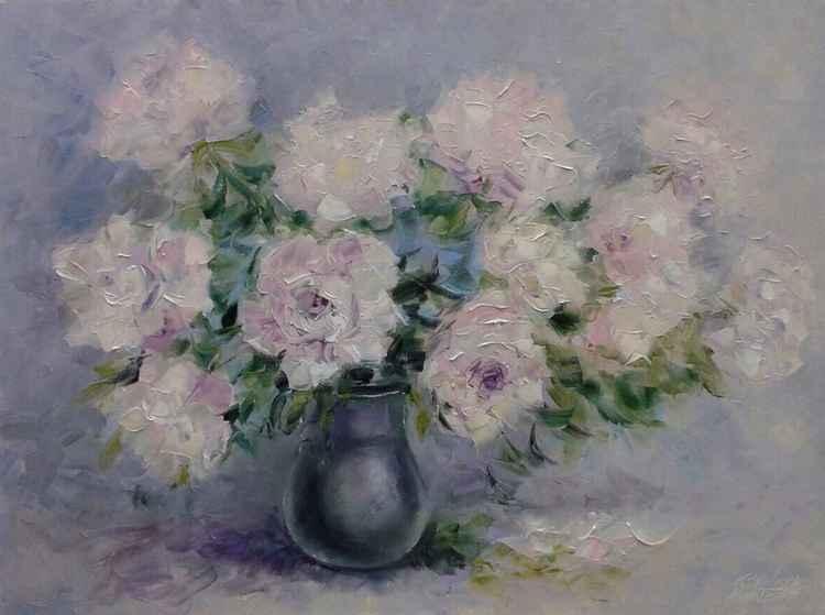 painting *Очарование розовых пионов* Oil on canvas 80х60 cm -