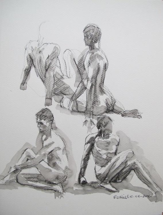 seated male nudes - Image 0