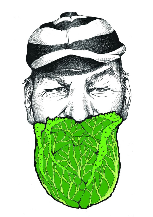 W.G Grace with Savoy Cabbage - Limited Hand Painted and Screen Print - Image 0