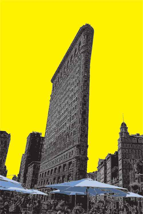 The Flatiron Building 2 NY on yellow -
