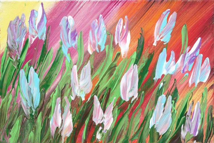 TULIPS 59 small painting 20x30x2cm spring decor original floral art palette knife impasto acrylic on stretched canvas wall art by artist Ksavera - Image 0