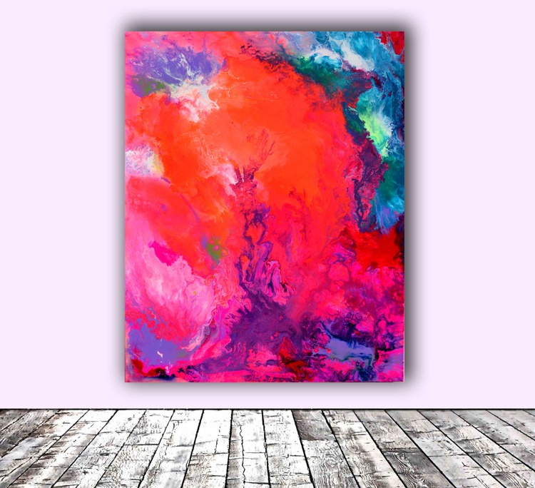 The Energy of Summer, SEASON Collection, Big Painting - Large Abstract Painting - FREE SHIPPING - Ready to Hang, Hotel and Restaurant Wall Decoration - Image 0