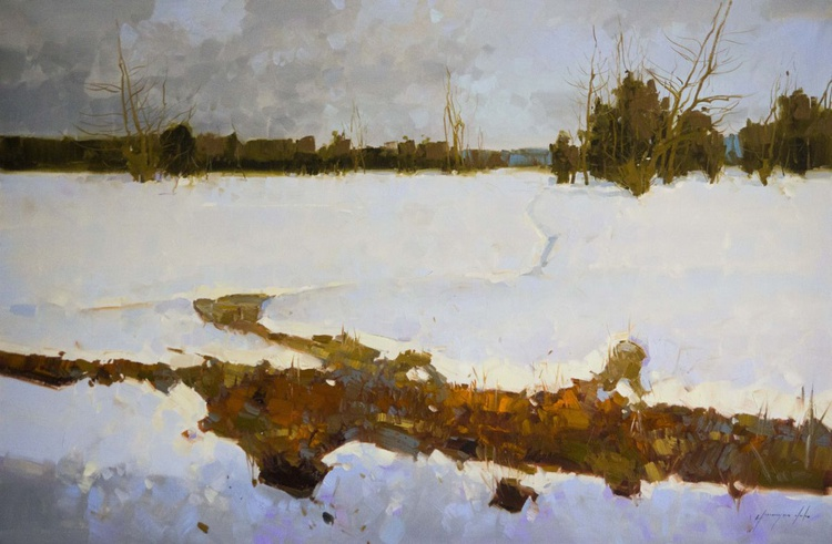 Snow Covered Meadow Original oil painting  Handmade artwork One of a kind Large Size - Image 0