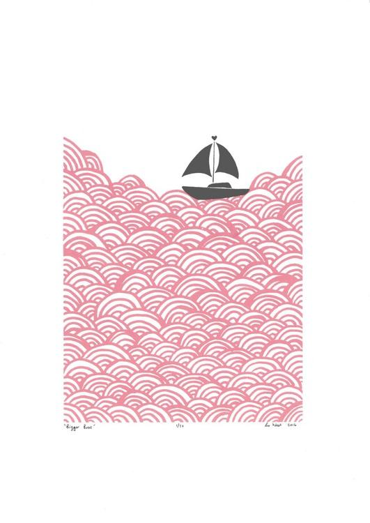 Bigger Boat in Rose Quartz & Grey - Unframed - FREE Worldwide Delivery - Image 0