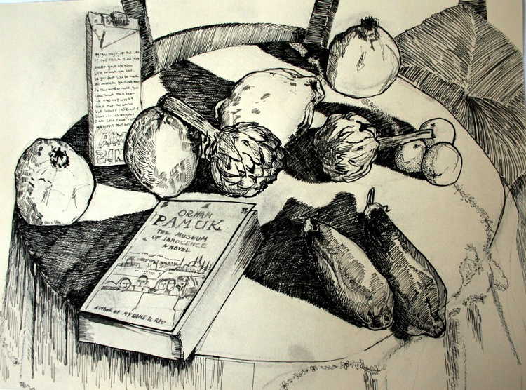 Still life with aubergine, artichokes and Pamuk - Image 0