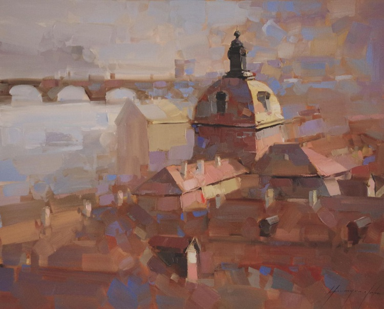 Prague Cityscape Original oil painting  Handmade artwork One of a kind Large Size - Image 0