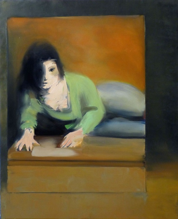 Model in the mirror, oil on canvas, 60x73 cm - Image 0