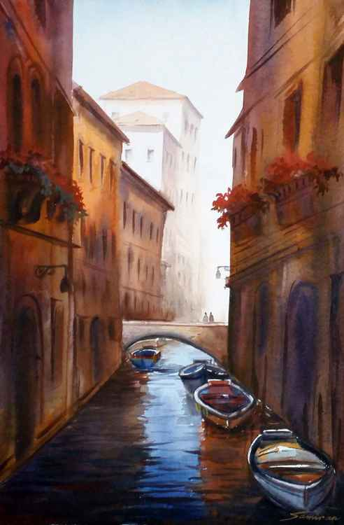 Morning Venice Canals - Watercolor Painting