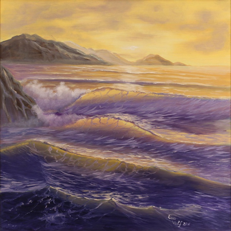 """""""Contemplating the Waves"""" Large Seascape Painting, Realistic Ocean Art, XL Oil Painting, Golden Sunset Sea Painting - Image 0"""