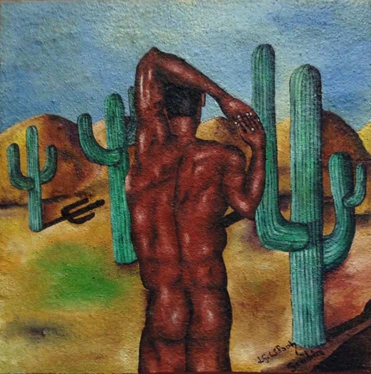 Introspective scene with saguaros. - Image 0