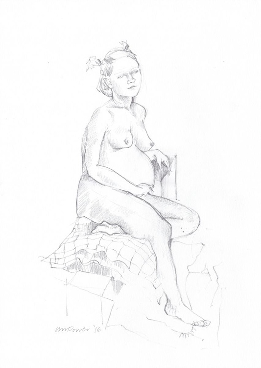 seated pregnant nude, A3 Pencil life drawing #06 - Image 0