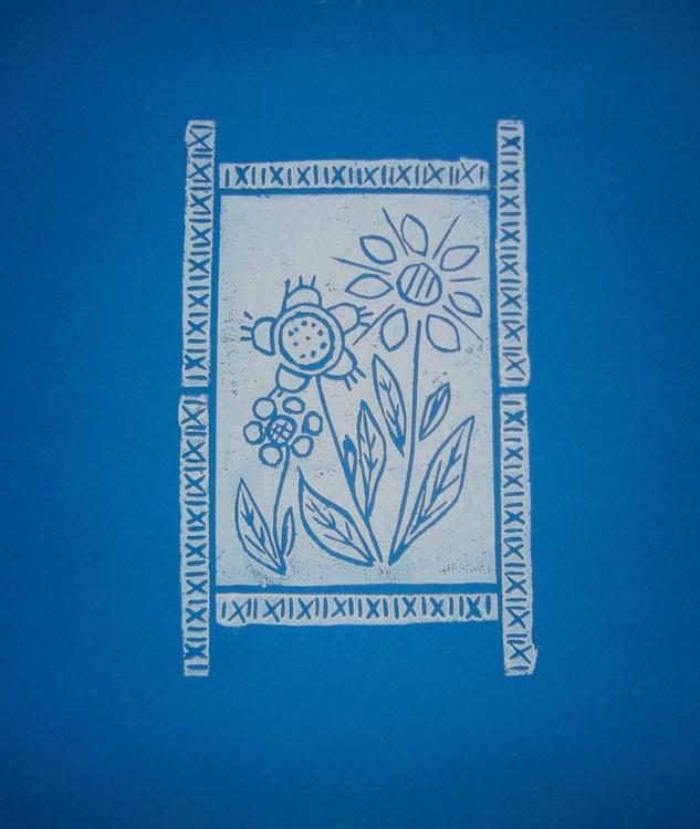 Three flowers with border - Print 1 - Image 0