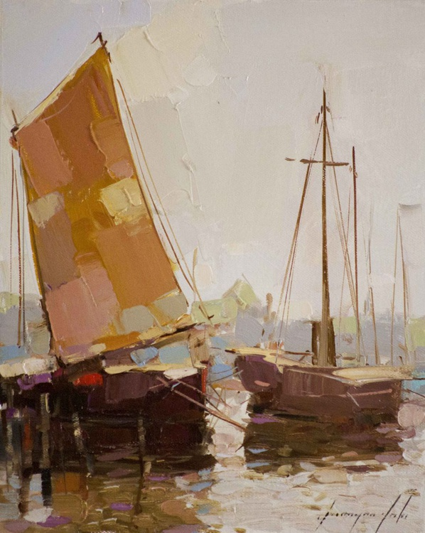 Sail Boats Handmade oil Painting - Image 0