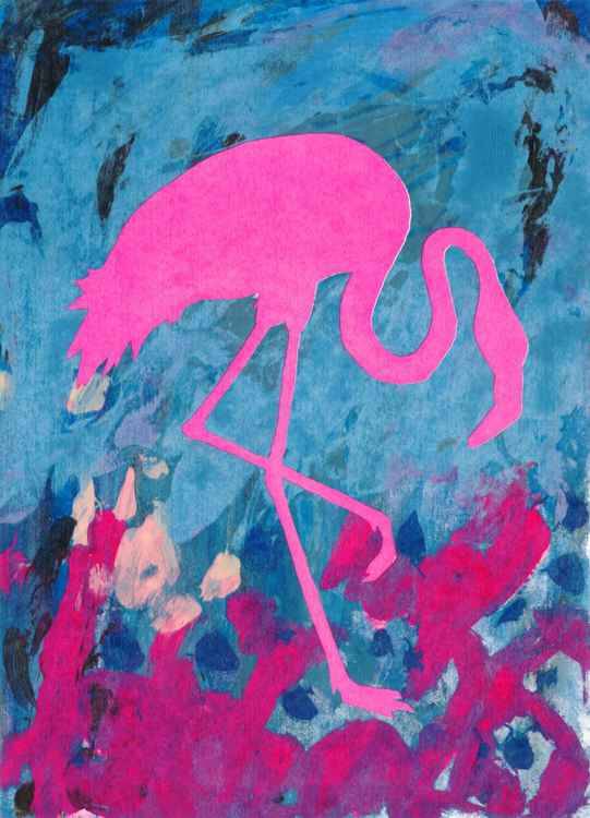 Pink Speckled Standing Flamingo