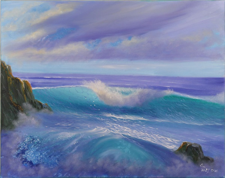 Awakening, Ocean Wave Painting, Seascape Oil Painting on Canvas, Turquoise Ocean Art, Realistic Seascape - Image 0