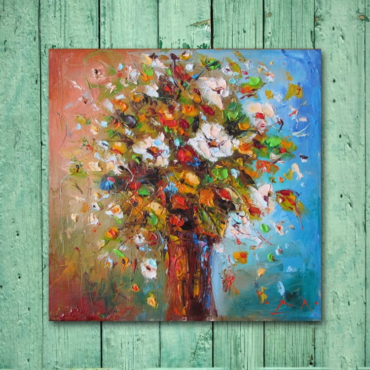 Reflection of autumn, Modern Flowers Painting, free shipping - Image 0