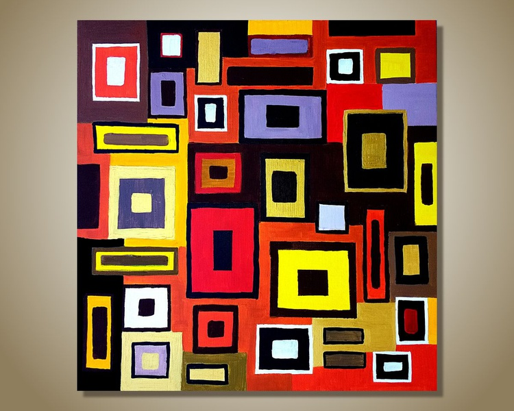 Multicolored Geometric  Abstract, Modern Art on Canvas, Acrylic Painting On Canvas - Image 0