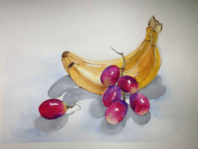 Still life with bananas and grapes