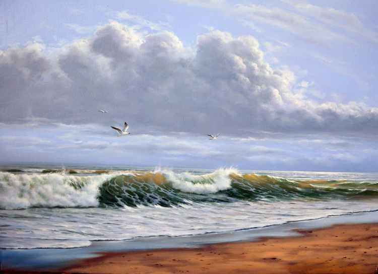 After the storm, Original oil on canvas, Free shipping