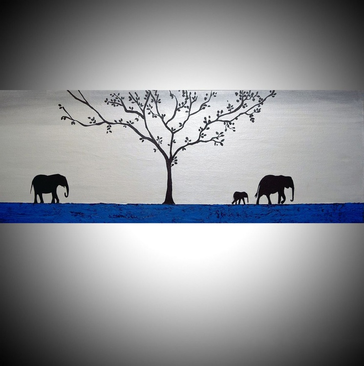 "original abstract animal art acrylic original landscape ""elephants of the sudan 2"" africa animal painting art canvas - 121 x 40 cm - Image 0"