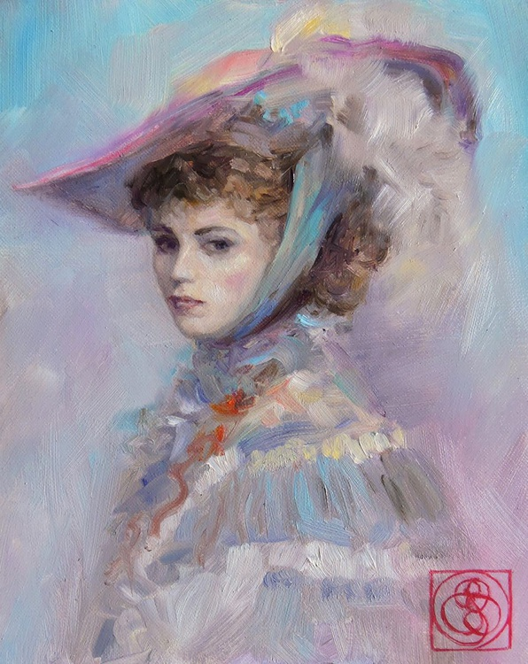 Portrait in Feathered Hat - Image 0