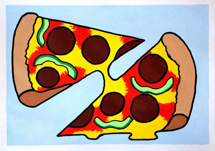 Two Slice Pizza Pop Art Painting On Paper - Image 0