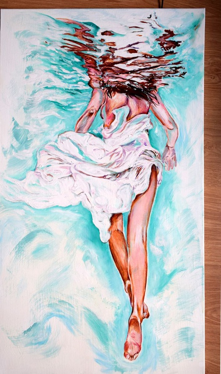 Floating / 90 cm x 50 cm modern Underwater Art - Image 0