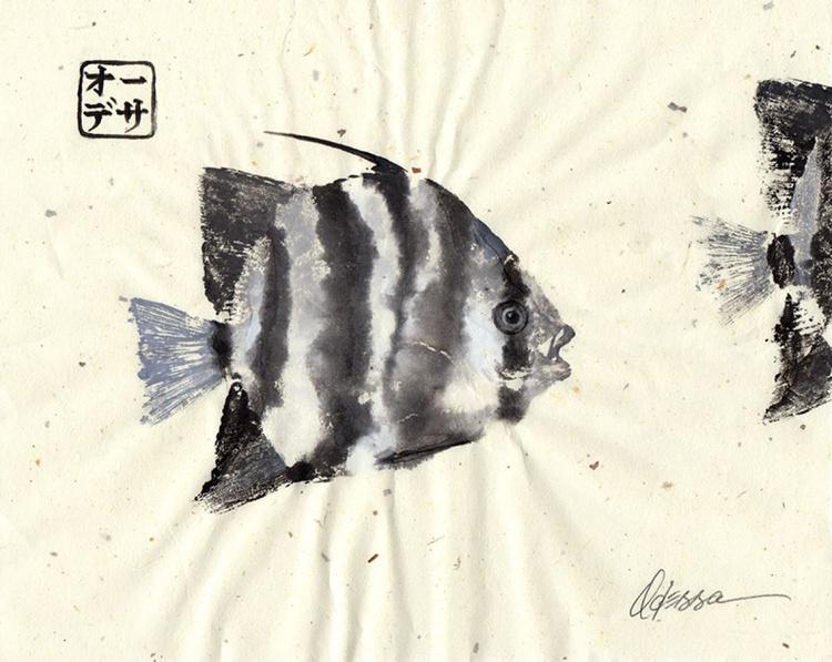 Single Spadefish Gyotaku (Fish Rubbing) - Image 0