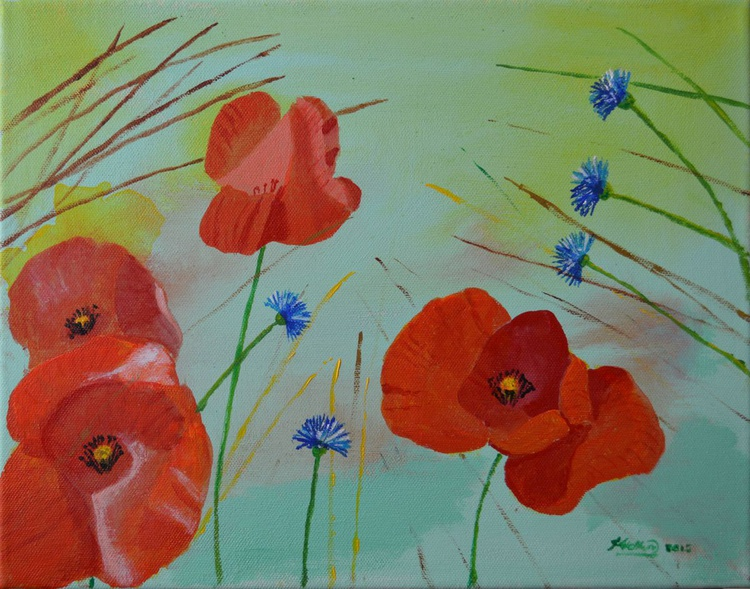 Poppies with Corn Flowers - Image 0