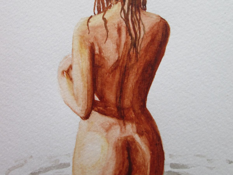 """""""WATER-SPRITE"""", Nude in Original Watercolour GIFT MODERN ART OFFICE ADULTS HOME DECOR GIFT IDEA - Image 0"""
