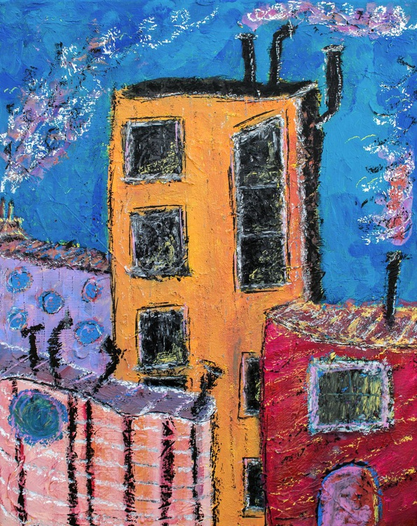 """Harbor City, Abstract City Painting 20"""" - Image 0"""