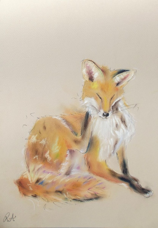 A Quick Scratch - Pastel painting of a FOX on paper - Image 0