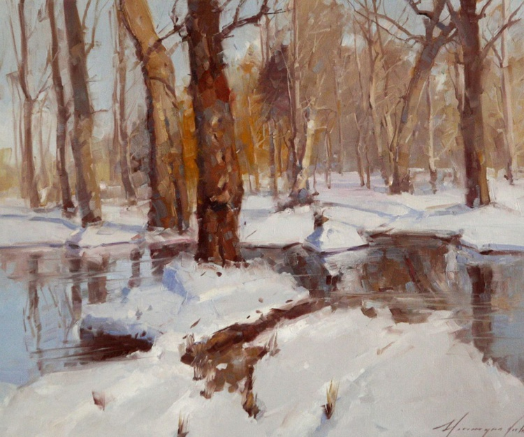 Winter Morning original Oil Painting One of a kind - Image 0