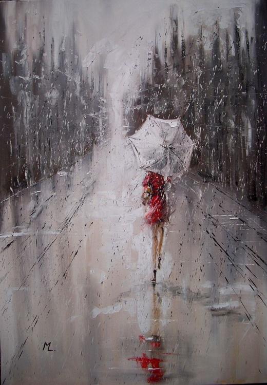 """ MY RAINY CITY "" original painting LARGE FORMAT 100 x 70cm - Image 0"