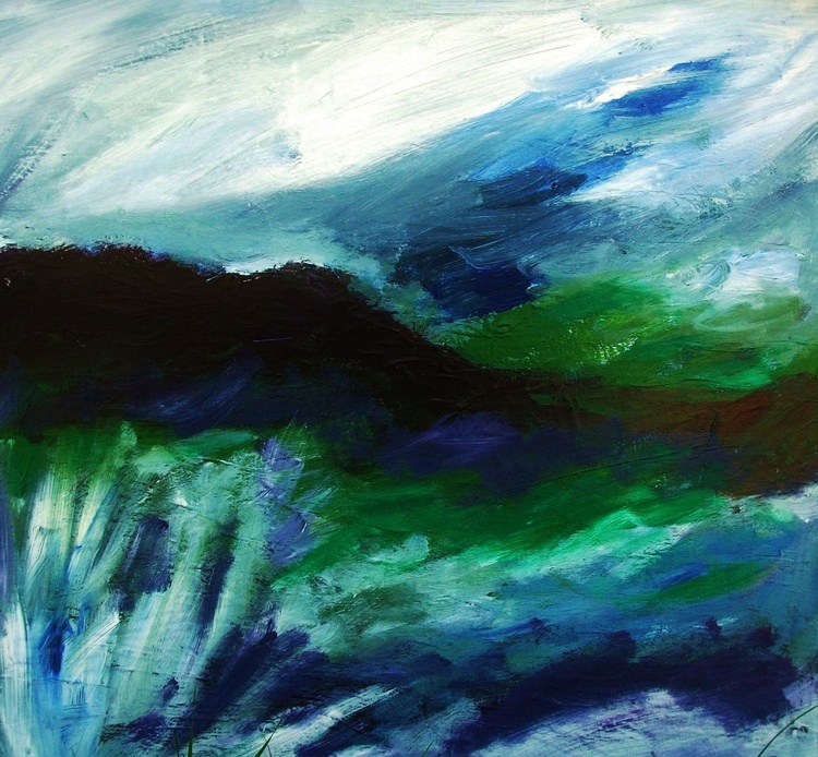 GREEN HILL ACRYLIC PAINTING BASED ON THE NORTH YORKSHIRE MOORS - Image 0