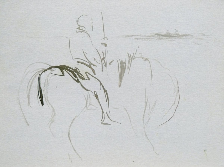 Rider on the beach, 24x32 cm - Image 0