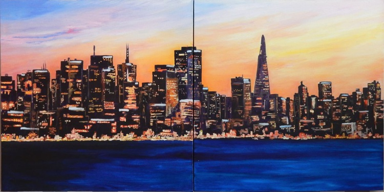 The city never sleeps. Cityscape, diptych. 100x50cm. - Image 0