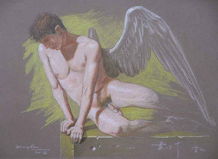 original art drawing colour pencil  angel of male nude  on paper #16-4-14-01 -