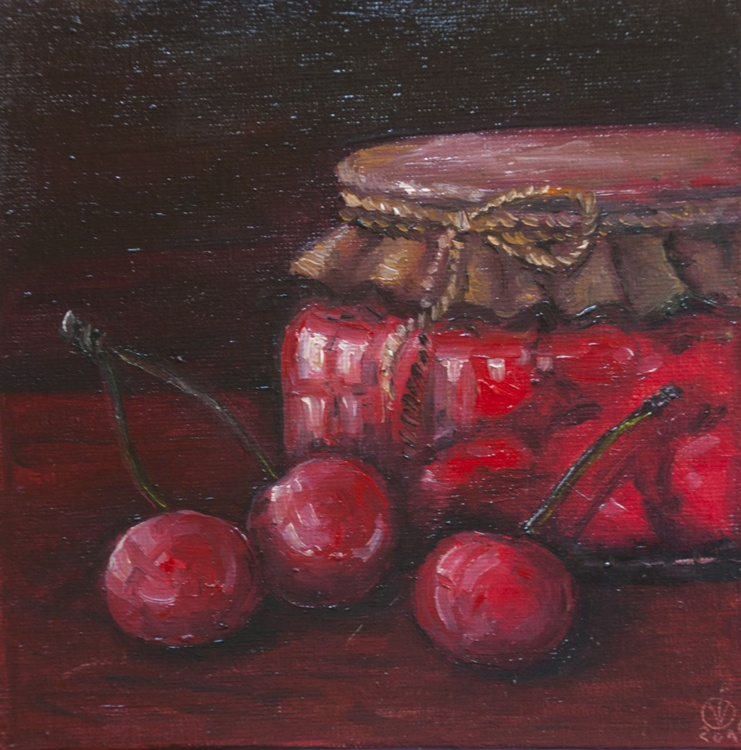 Cherry Jam (15x15cm) original oil painting little still life realistic vintage style small gift kitchen decor - Image 0