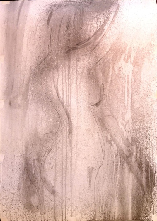 in the shower, original watercolor, 61x86 cm - Image 0
