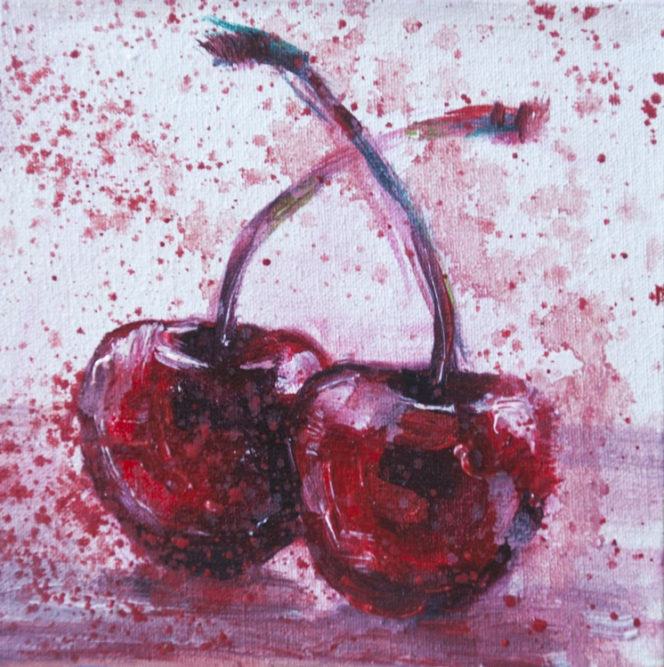 Two Cherries (10x10 cm) original oil painting little still life yummy abstract small gift kitchen decor - Image 0