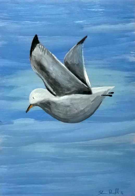 Seagull - oil on paper - Image 0
