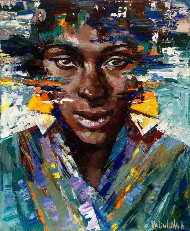African woman portrait painting Original oil painting - Image 0