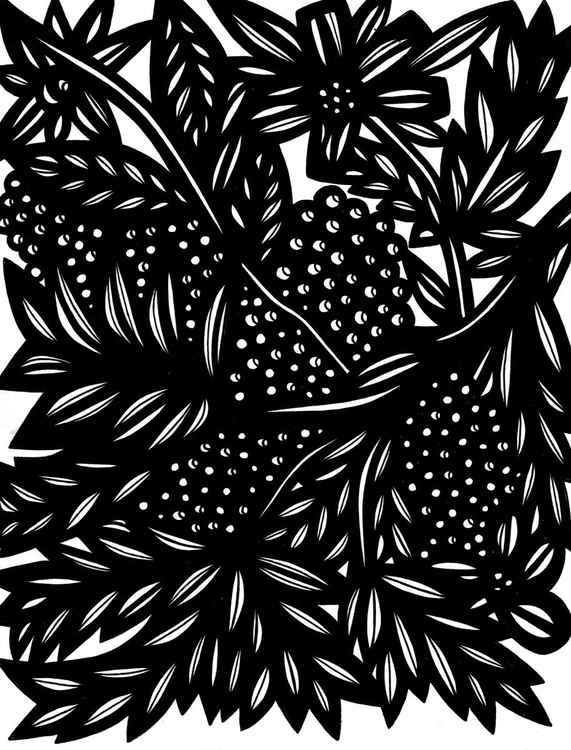 Berries Flowers Original Drawing -